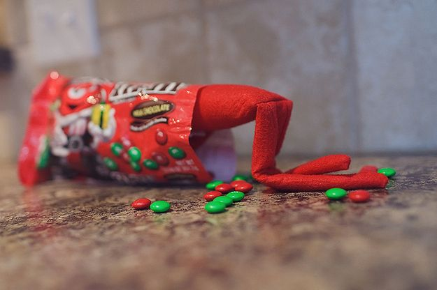Candy Crazed Elf on the Shelf.  Super cute ideas!