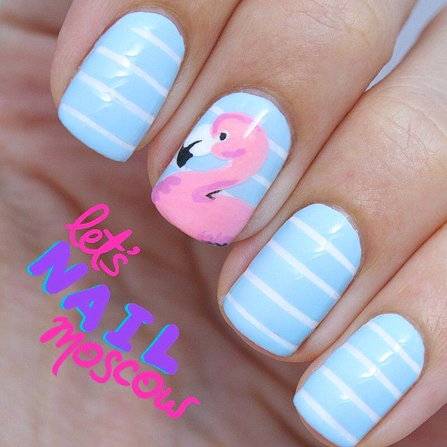 Blue & White Striped Nails with Flamingo Accent Nail - 1563 Best Beach Nails Images On Pinterest Nail Scissors, Nail
