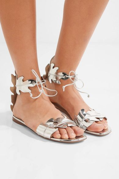 Francesco Russo - Mirrored-leather Sandals - Silver - IT36.5