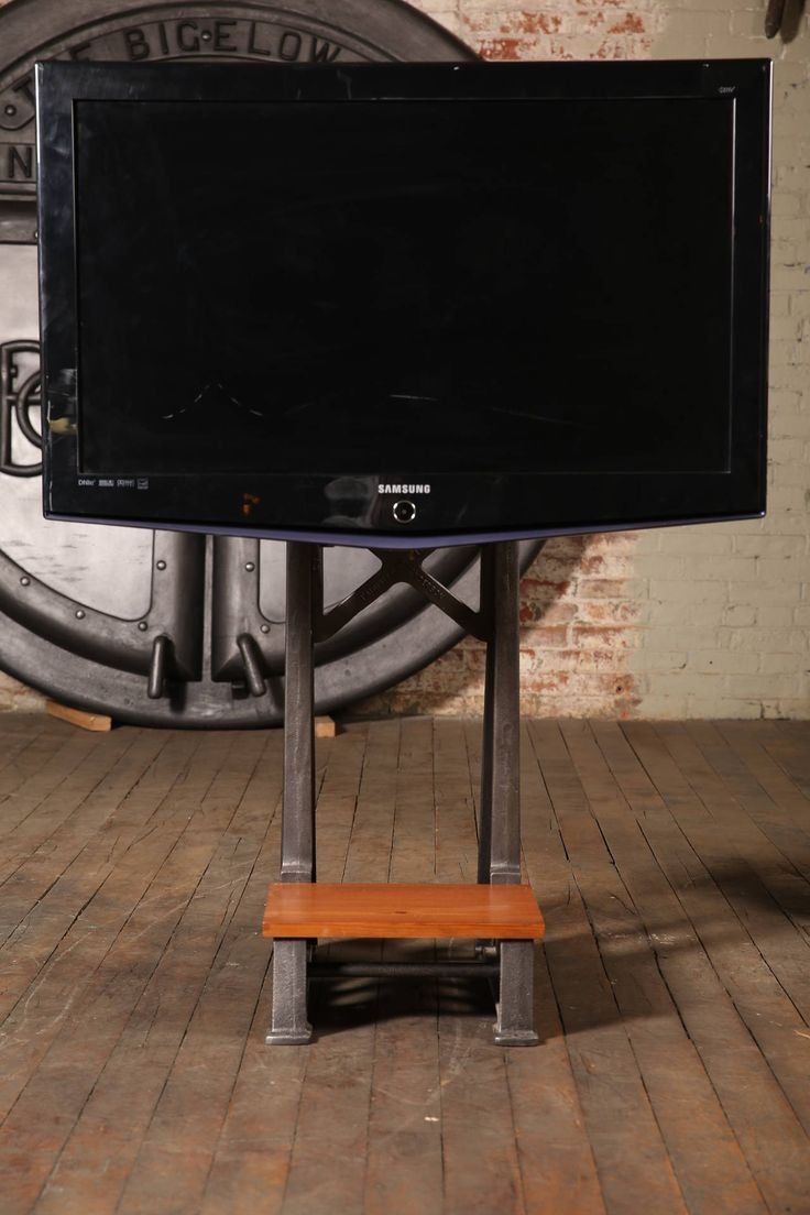 Flat Screen TV Stand Vintage Industrial Cast Iron Media Screen Display Table 2