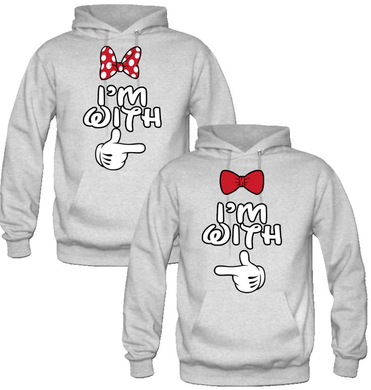 I'm with her I'm with him mickey & minnie Sweatshirt Love Couple Hoodi