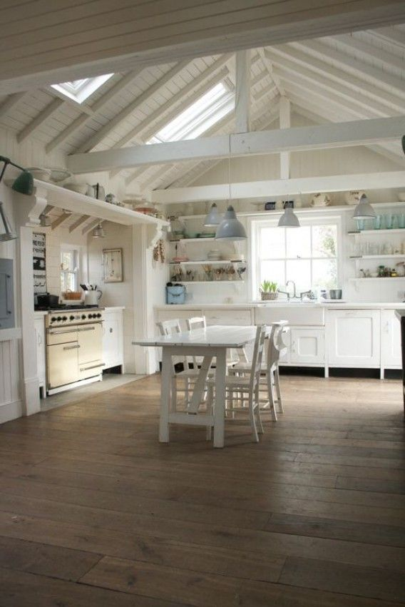 foster-house-kitchen-04.jpg (568×851) Could you imagine ? All the copper pot racks hanging from those beams...........