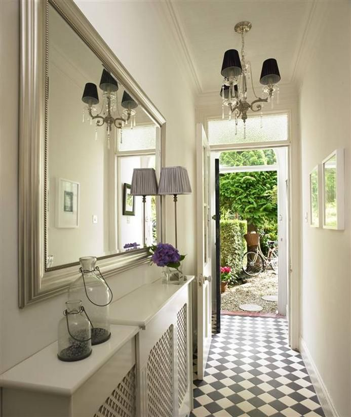 Floor Covering Ideas For Hallways: Like Lights, Mirror, Radiator Covers And Light Airey Feel