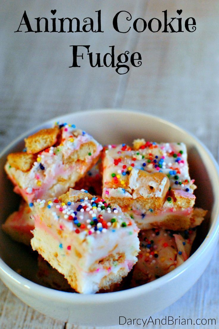 Make this Animal Cookie Fantasy Fudge Recipe for a fun and tasty treat. Great for kids birthday parties or a baby shower. Enjoy this twist on a classic childhood snack! #fudge #dessert #sweets #animalcookies #recipes