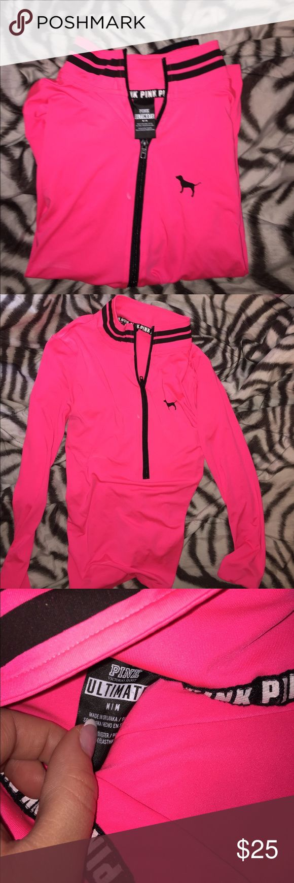 VS Pink Light Sports Pullover Like new, only worn about three times. Just have to wash it then it's good to go. I can ship it tomorrow (Saturday July 1st) PINK Victoria's Secret Tops Sweatshirts & Hoodies