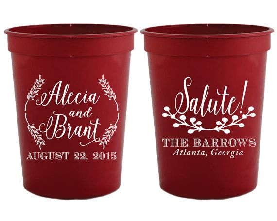 Personalized Wedding Favors Monogrammed Wedding Cups Rustic Wedding Cups Salute Wedding Favors Wedding Ideas Shower Favors Cups 1245 by SipHipHooray