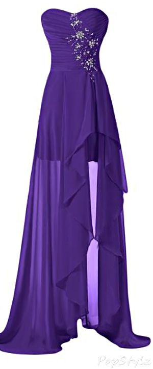 Goth:  The #Moonstruck ~ Sunvary High Low Strapless Chiffon Formal Dress.