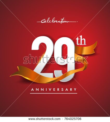 29th anniversary logotype with golden ribbon isolated on red elegance background, vector design for birthday celebration, greeting card and invitation card.