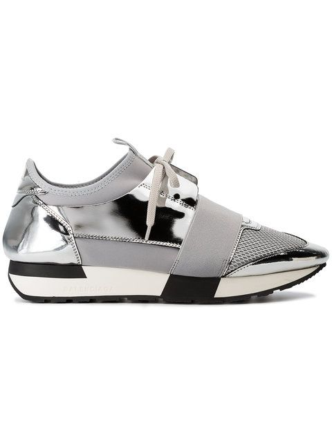 0a8428c4c9d84 Balenciaga Grey And Silver Race Runner Leather Sneakers