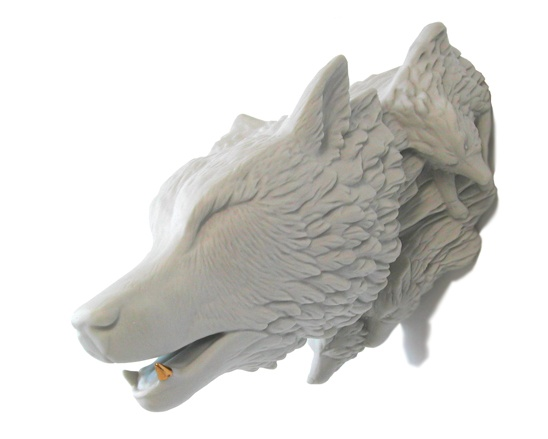 White Wolf with Gold Tooth [2008] Sarah Cihat Porcelain
