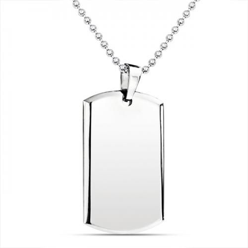 Bling Jewelry Beveled Edge Stainless Steel Dog Tag Pendant Mens Necklace 24in