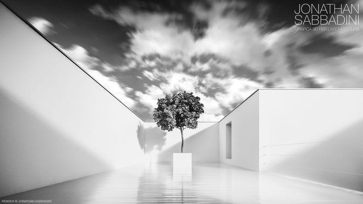 La casa bianca e la piscina, architettura minimalista.   #rendering #architettura #3D #design #minimalismo