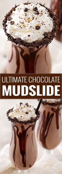 The Ultimate Frozen Chocolate Mudslide | Thick, rich, and delicious this mudslide recipe is made extra chocolatey with the addition of some chocolate vodka, creme de cacao, and chocolate ice cream! There's nothing better than a boozy milkshake! | The 5 o'clock Chef | #milkshake #boozymilkshake #adultmilkshake #mudslide #mudsliderecipe #chocolaterecipes