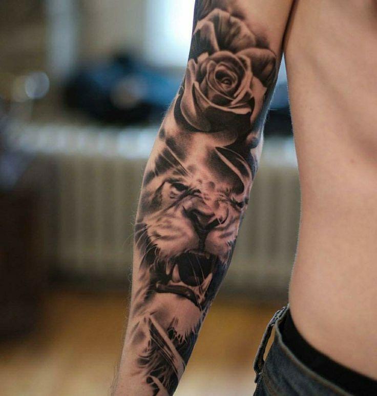 Leão rosas