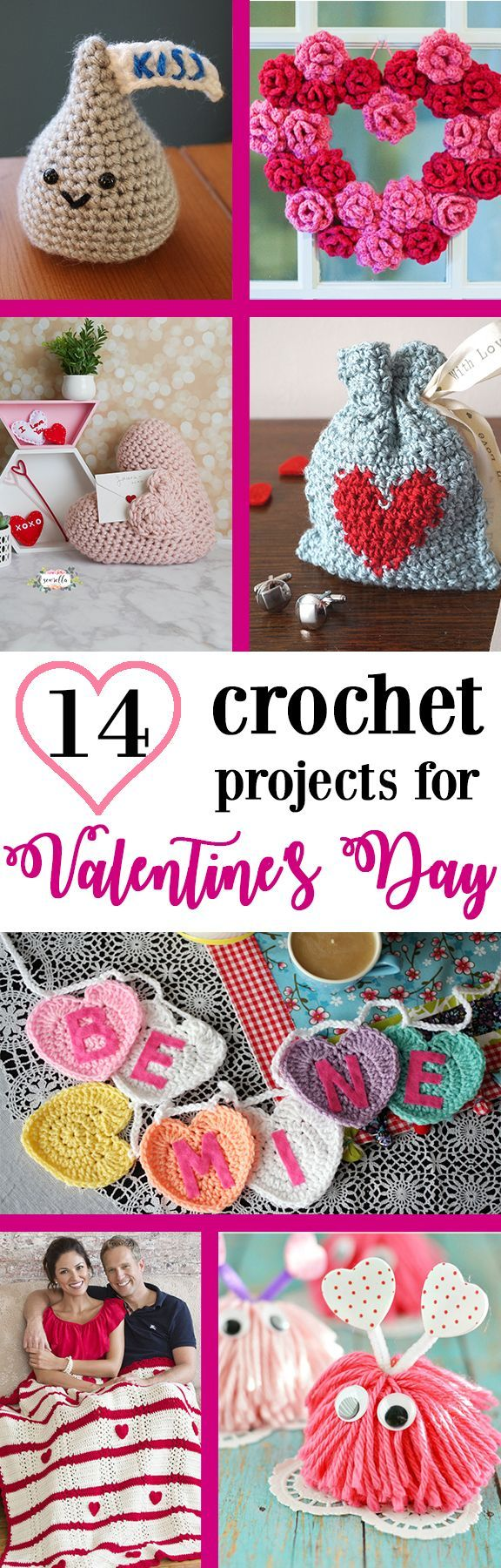 I've rounded up my 14 favorite Valentine's Day projects to crochet! Make them for your sweetie with hearts and roses abounding! | Free crochet roundup from Sewrella