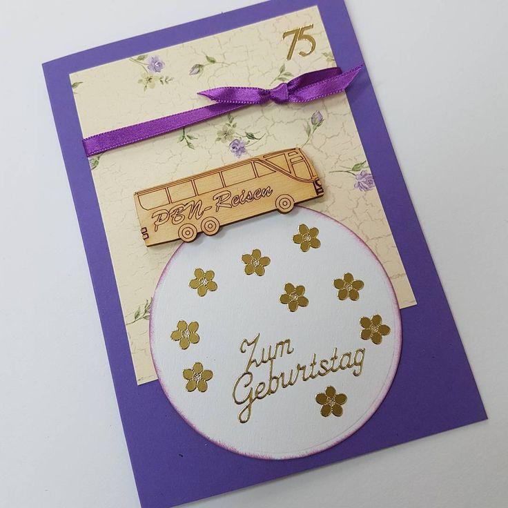 Geburtstagskarte in A6 mit #Holzteilchen. #selbermachen #Geburtstagskarte #DIY