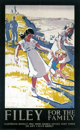 Margaret Horder 1931 - Filey for family - Vintage travel beach poster England - www.varaldocosmetica.it/en olive oil skin care from the riviera .