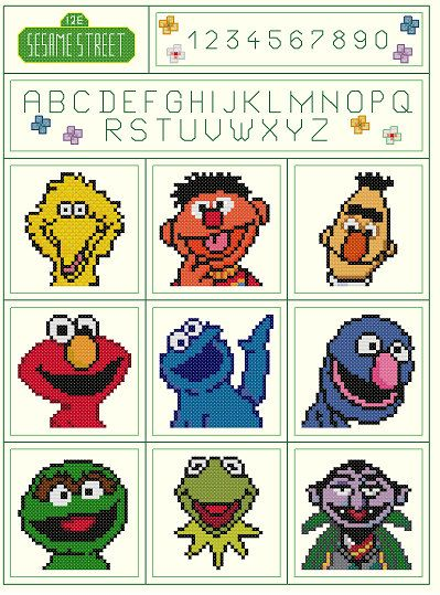 Set of 2 Sesame Street Sampler Parody Cross von KeenahsCrossStitch