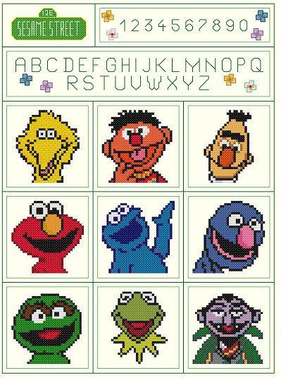 Set of 2 Sesame Street Sampler Parody Cross von KeenahsCrossStitch