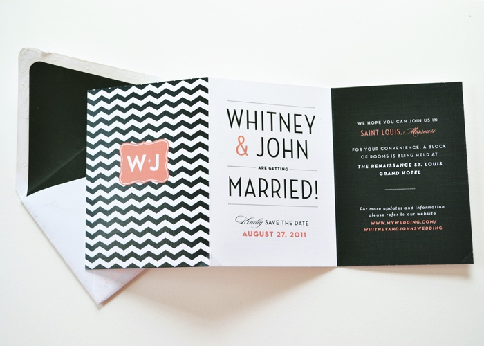black and coral folding wedding invite