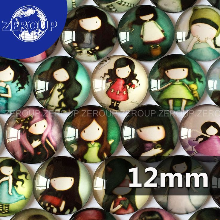 50pcs/lot 12mm round pattern glass cabochon,mix cartoon girl pictures,flat back  accessoire bijoux