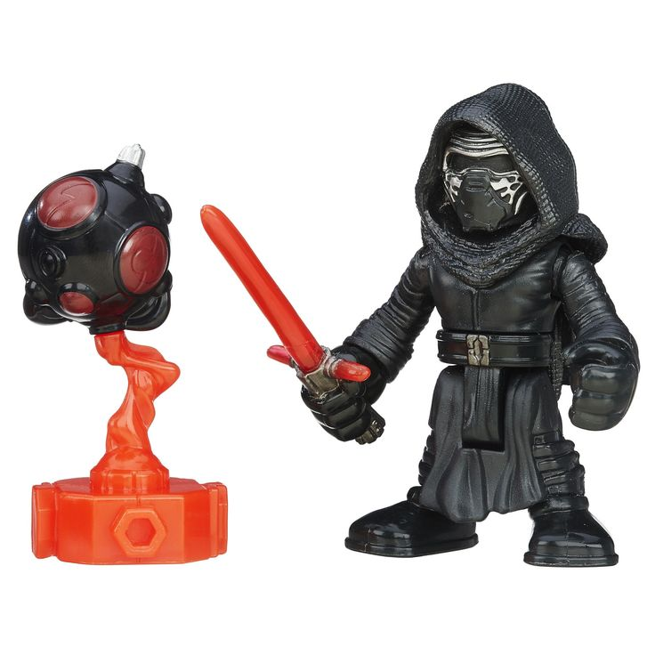 Playskool Heroes Galactic Heroes Star Wars Kylo Ren. Sized right for smaller hands. Practice with training droid. Twist figure to swing lightsaber. Includes figure and training droid. Ages 3 to 7. Includes figure and training droid.