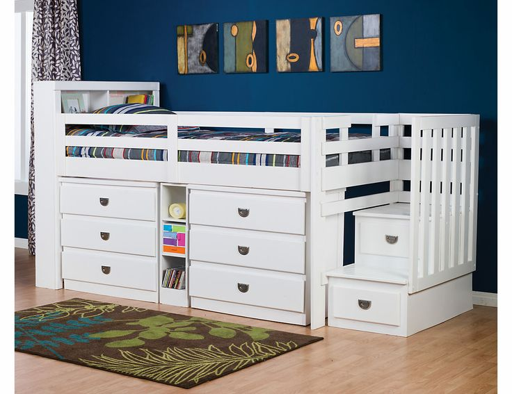 Malibu Junior Twin Storage Loft Bed 6800stpk7 The