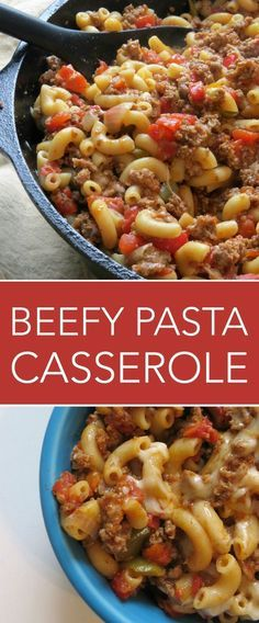 This Beefy Pasta Casserole recipe is a one dish favorite!