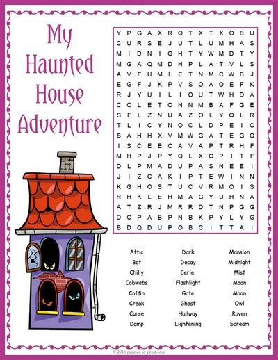 Ready for a spooky Halloween adventure?  Welcome to our haunted house word search puzzle - don't forget your flashlight!