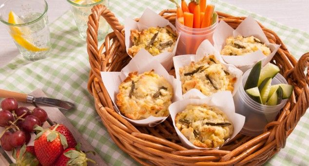 These tasty Savoury Muffins are perfect for a picnic! Recipe by One Bite More.  #snack #muffin #recipe