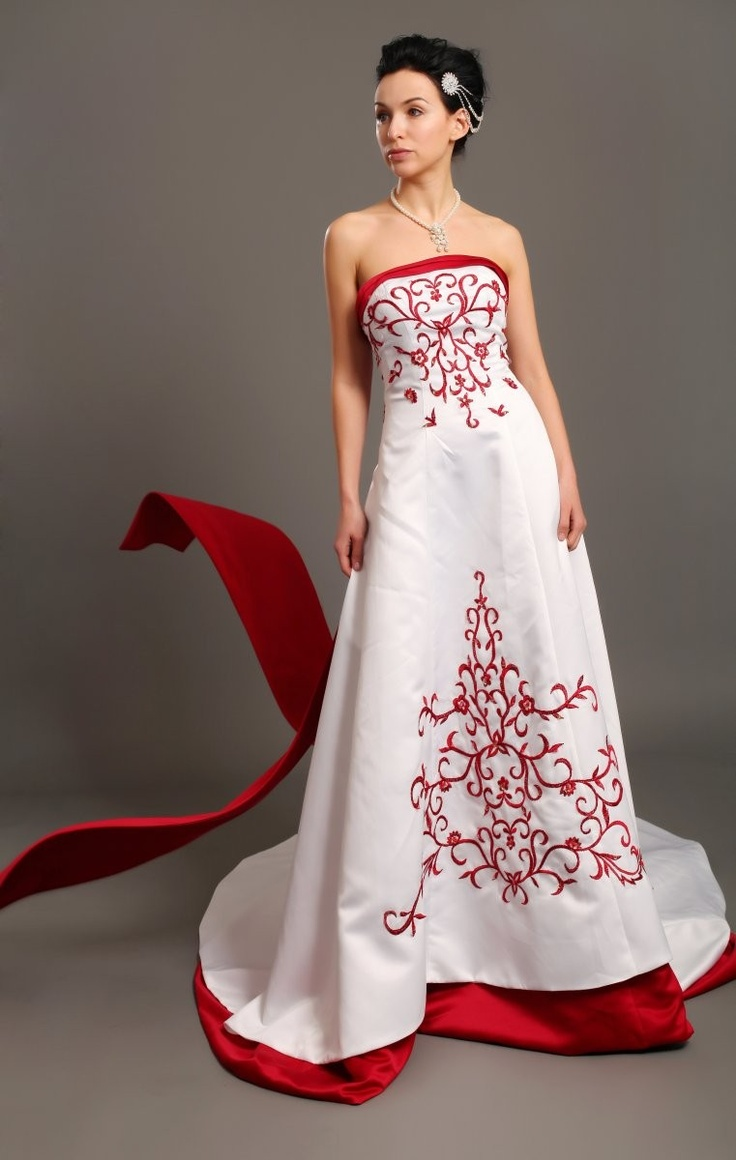 16 best red accents on wedding dresses images on pinterest for White wedding dress with black accents