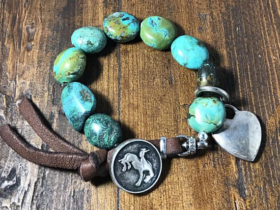 Turquoise and Suede Leather Bracelet Cowgirl Style Sterling