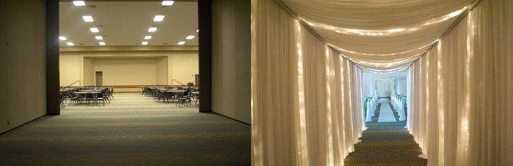Before and After of draping and lighting provided by South Carolina Wedding Co www.southcarolinaweddingco.com