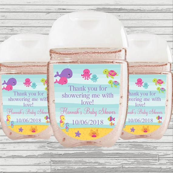 Under The Sea Baby Shower Favor Hand Sanitizer Label Digital File