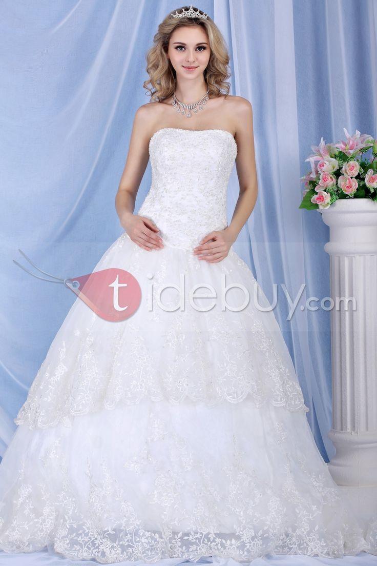 Elsa - Encantador Vestido de Boda Sin Tirantes y Silueta Linea A $221.99 Vestidos de Novia sin Tirantes