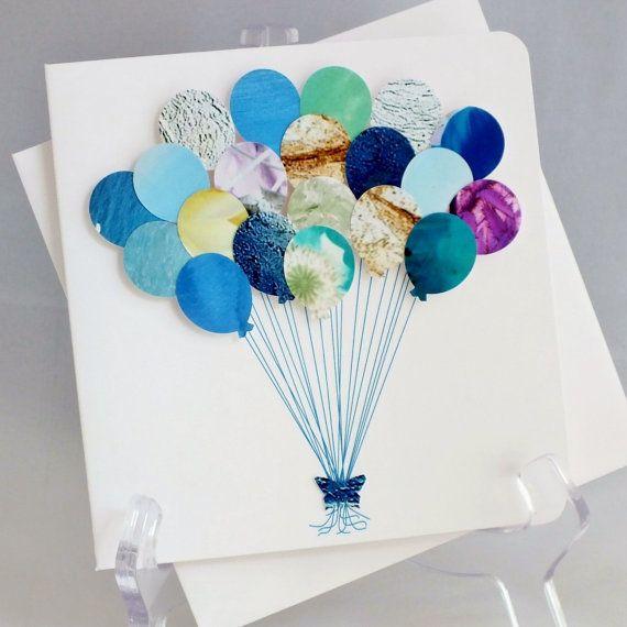 Handmade 3D 'Balloons' Card - Happy Birthday Card, New Baby Boy, Childs Birthday, Children, Its a Boy, CardsbyGaynor, Blues, Blue (BH08) on Etsy, £3.95