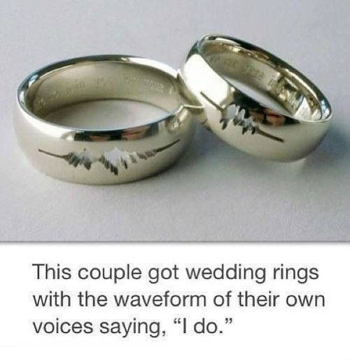 """Silver rings etched with the voice waveform of their individual voices saying, """"I love you."""""""