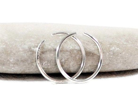 Single Silver Hoop Earring. You Choose Diameter 8-12mm. Mens Hoop Earrings. Sleeper Earrings. 22-14 Gauge. Minimalist Jewelry By GSminimal