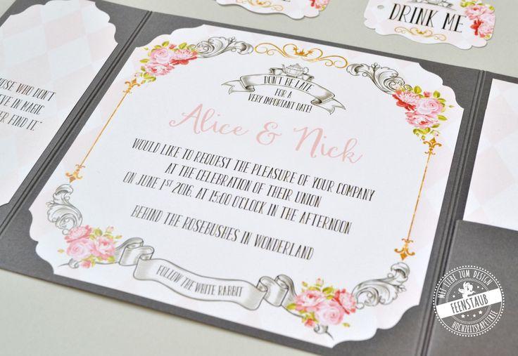 Pocketeinladung für die Hochzeit im Thema Alice im Wunderland - Teeparty   - Gold, Rosa, Blumen und Teetassen findet ihr in dieser   Hochzeitspapeterie. feenstaub.at