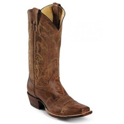 Justin Men's Cowboy Boots Tan Distressed Vintage Goat