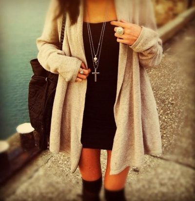 little black dress, cross necklace, oversized cardigan! creative alternative to the little black dress.. perfect for a more casual dinner out in the cooler weather