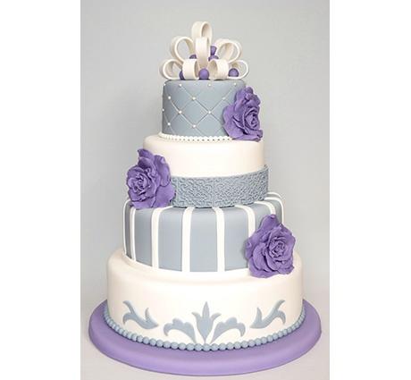 Bruidstaart wit zilver met paarse bloemen
