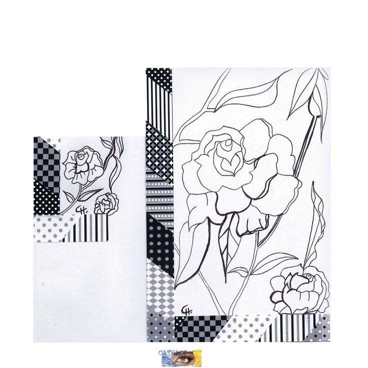 Carte postale d 39 art colorier fleurs stylis es cr ation carterie artisanale mod le unique - Exemple d album photo fait main ...