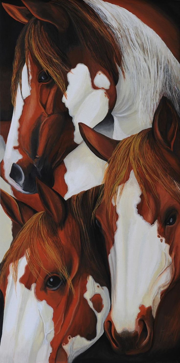 Horse art paintings. Three beautiful Paint Horses with gorgeous markings and pretty faces. Please also visit www.JustForYouPropheticArt.com for more colorful art you might like to pin. Thanks for looking!