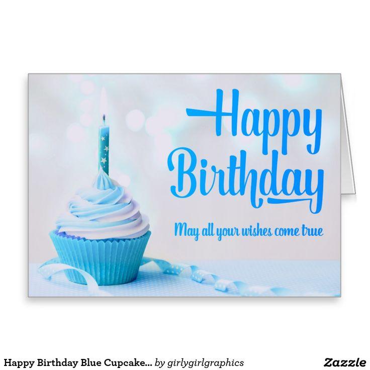 Happy Birthday Blue Cupcake Greeting Card Zazzle Co Uk