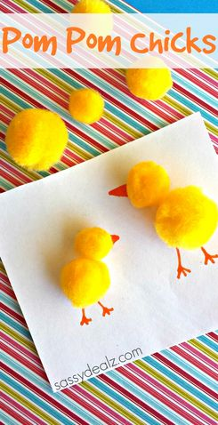 Make this adorable pom pom chicks craft with your kiddos! They are great to put on homemade Easter cards.