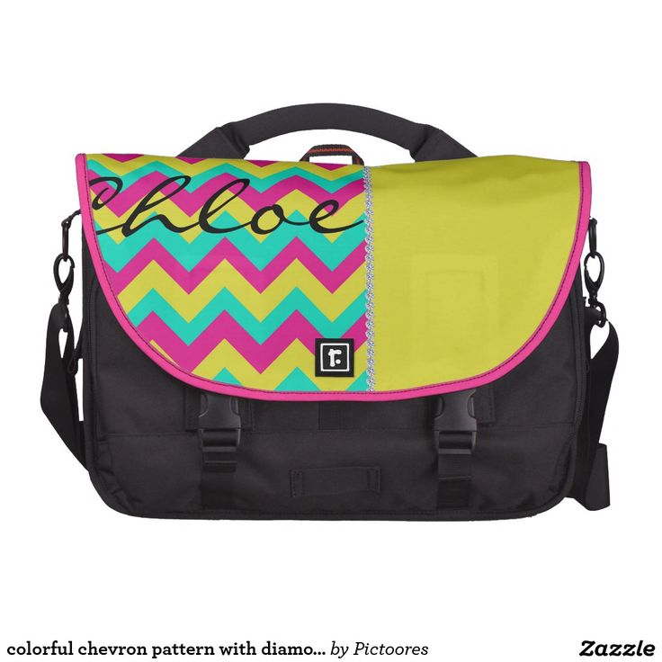 colourful chevron pattern with diamonds and name bag for laptop