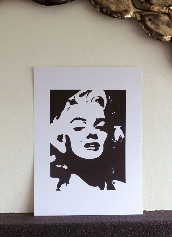 Marilyn Monroe Stencil Art A3 Black and White Ink by ArieleArt, $30.00