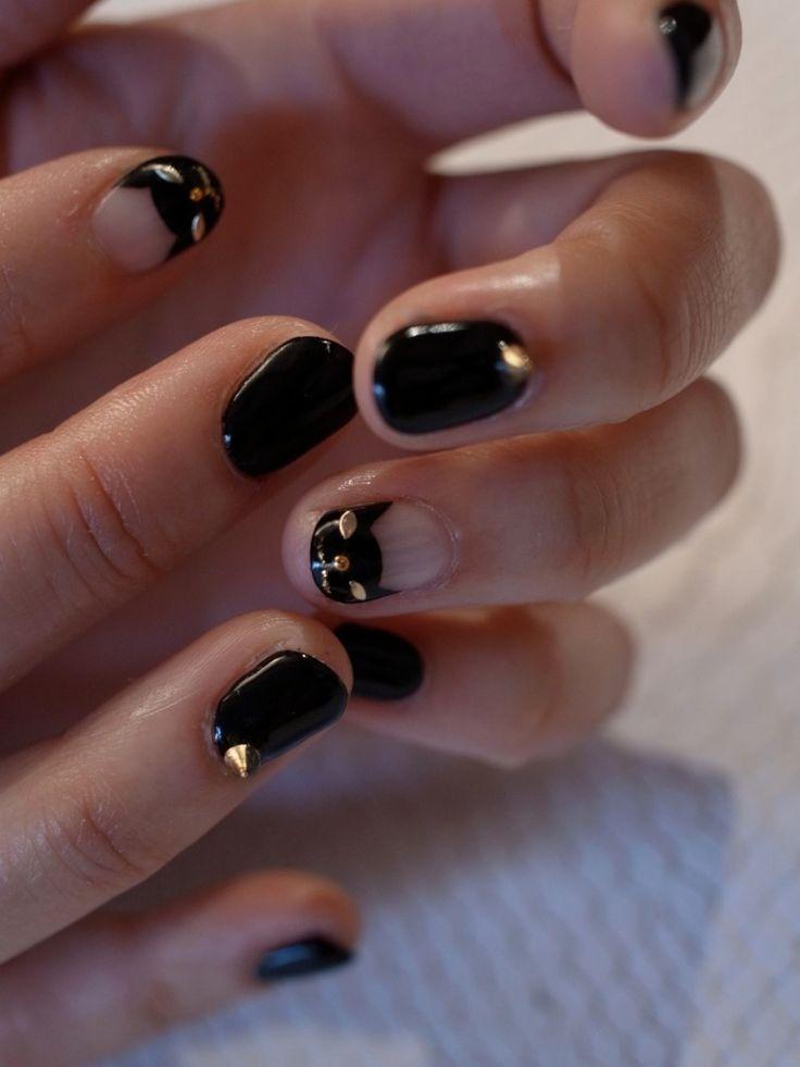 Black kitty cat nails