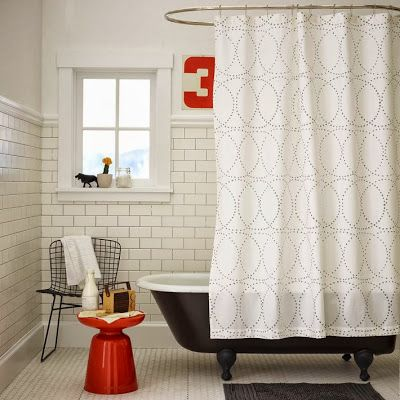 Mid-Century Modern Shower Curtain with Gray Circles: Simple Color Scheme Black, White, Red